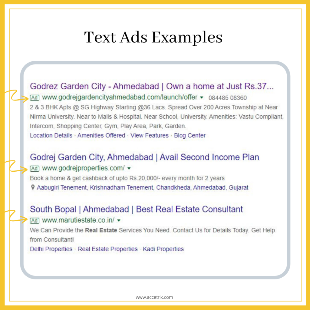 PPC text ads example